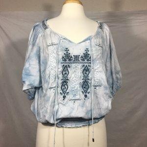 RXB Boho Denim Tie Die Embroidered Top Large